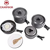 ZIGLY CAMPSOR 4-in-1 Camping Pot Sets for 2-3 Persons Non-Stick Pots Pans Bowls