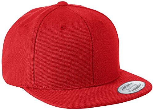 Flexfit Classic Snapback Cap, Mütze Unisex Kappe für Damen und Herren, One Size, Farbe red