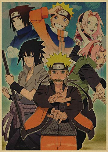 Puzzle 1000 Teile Japanische Anime Naruto Cartoon Manga Retro Art Deco Malerei Puzzle 1000 Teile Pädagogisches intellektuelles Dekomprimieren von Spielzeugrätseln Lustiges Fam50x75cm(20x30inch)