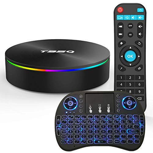 Android TV Box Android 9.0 OS Smart TV Box 4GB 64GB T95Q Support USB 3.0 BT 4.1 2.4G- 5G Dual-Band Wi-Fi 3D 4K Full HD H.265 100M Android Mini PC with Wireless Keyboard Remote (Backlit) TTV Box