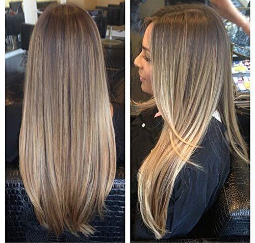 LaaVoo 22 Pouces Ins-Style Lace Front Wigs for Women Densité 130% Perruque de Cheveux Humains Douce et Droite Piano Color P8/16 Light Brown Mixed Dark Honey Blonde Partie Libre