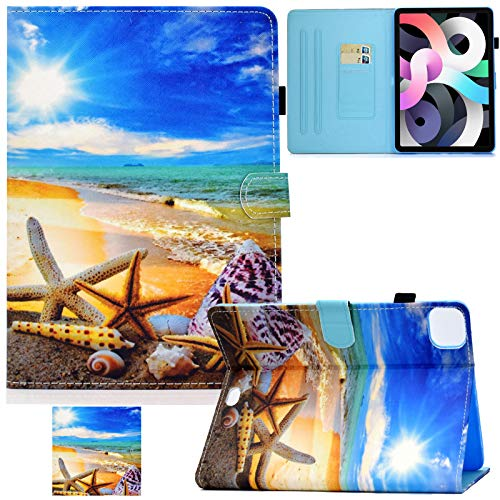 Artyond New iPad 10.9 Inch 2020 Case, PU Leather Multi- Viewing Angles Folio Smart Stand Cover with Auto Sleep/Wake Card Slots Case for New iPad Air 4th Gen 10.9 inch 2020 Release (Sky Beach)