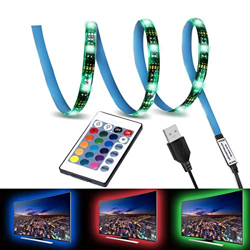 LED TV Backlight,SMY USB LED Strip Light,RGB Multi-Colour LED Light Strip Kit Waterproof IP65, 30LED with Wireless Remote Controller for TV/PC/Laptop Bias Lighting (3.28Ft)