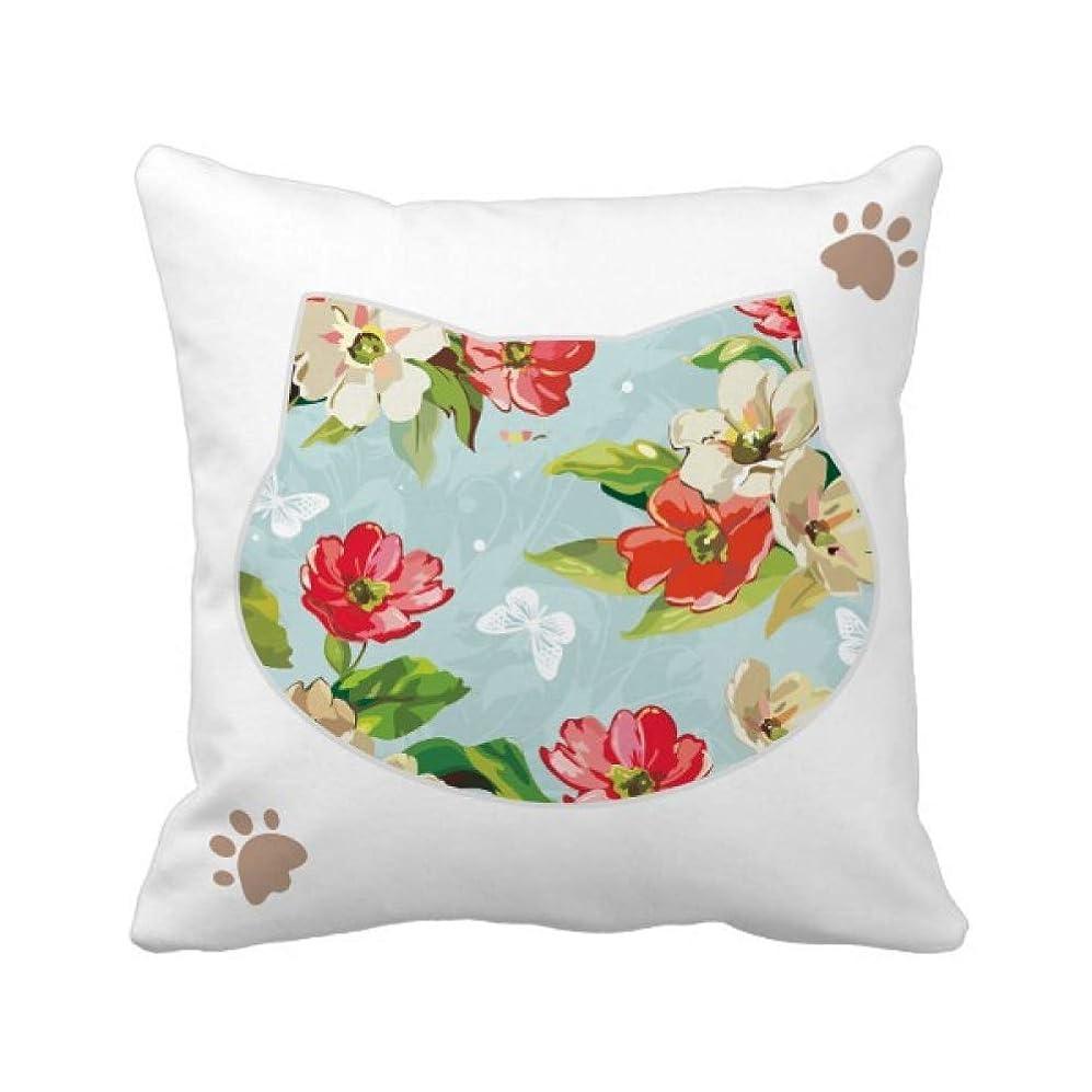 移民楽観全くエレガントな桃の花の花の植物 枕カバーを放り投げる猫広場 50cm x 50cm