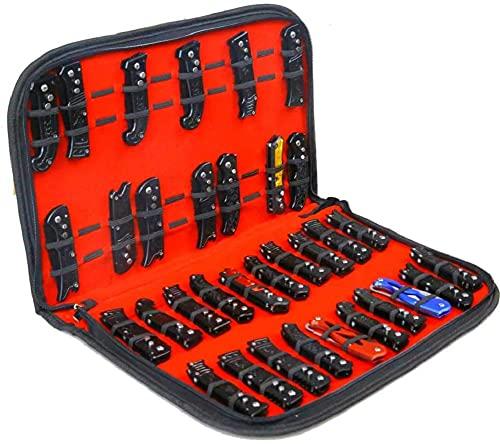 Étui de rangement pour couteaux de poche, petit couteau de rangement, sac de rangement pour outils, fourreau pliable pour mini outeau de poche de survie, boîte à couteaux avec 40 emplacements