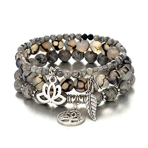 UEUC Tree of Life Yoga Healing Stone Bracelets,Multilayer Lotus Chakra Stone Reiki Bracelet Sets,Anxiety Crystal Natural Stone,for Women Stress Relief