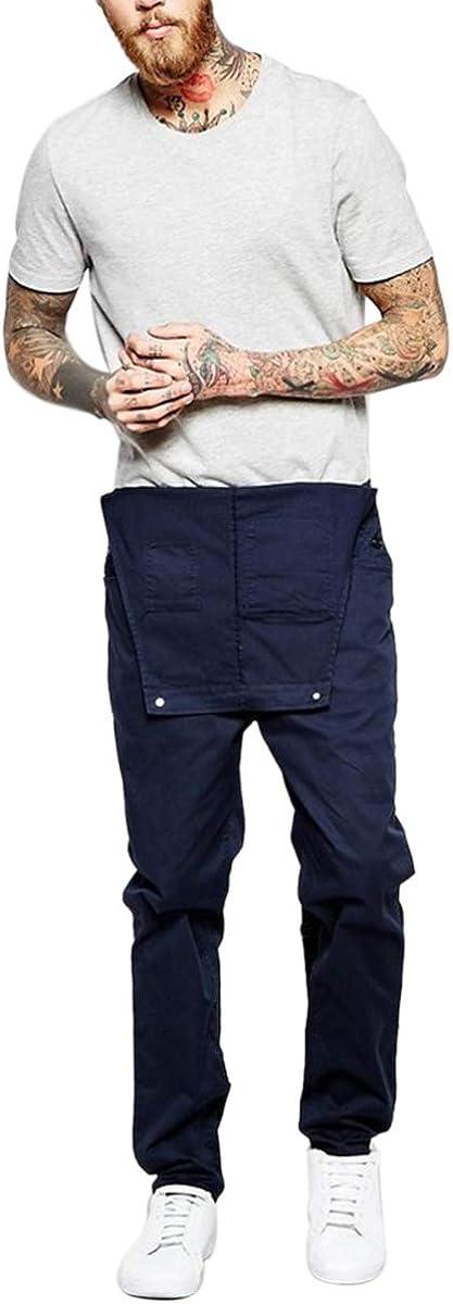 Denim HUAZONG Herren-Latzhose mit mehreren Taschen schmal