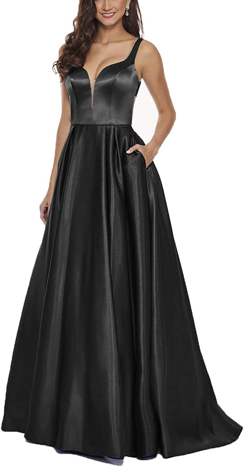 XSWPL Womens Spaghetti Strap VNeck Satin Evening Prom Dress with Pocket Long Aline