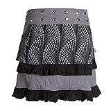 Vishes - Alternative Bekleidung - Mit Druckknöpfen Verstellbarer Wickel-Rock - Rüschen Gürteltasche schwarz 36-44