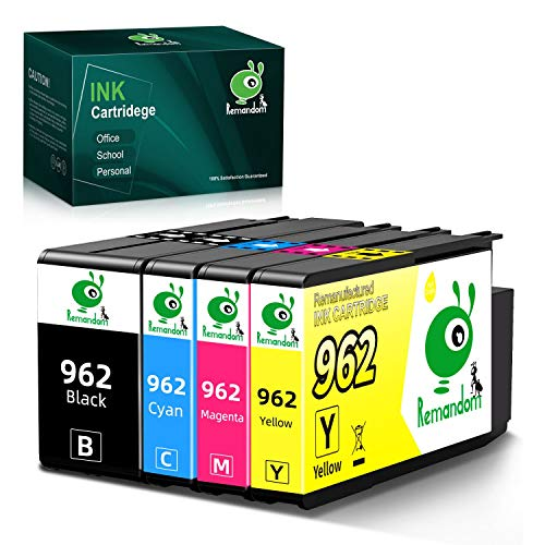 Price comparison product image Remandom remanufactured 962 Ink Cartridge Replacement for HP 962 for HP Officejet 9012 OfficeJet pro 9010 9015 9018 9020 9025 Printer (1Black,  1Cyan,  1Magenta,  1Yellow)