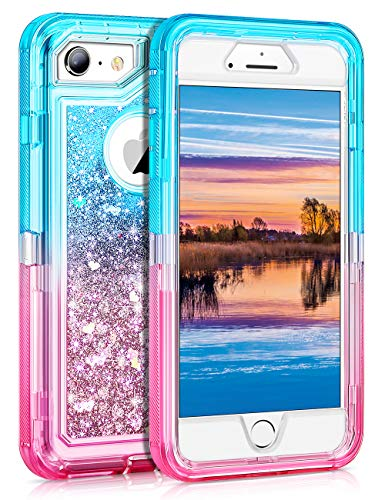 Coolden Case for iPhone 6S Plus Case Protective Glitter Case for Women Girls Cute Bling Sparkle Heavy Duty Hard Shell Shockproof TPU Case for 5.5 Inches iPhone 6 Plus 7 Plus 8 Plus, Purple