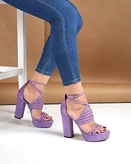Lila Süet Çapraz Bilek Bağlı Kadın Ayakkabı
