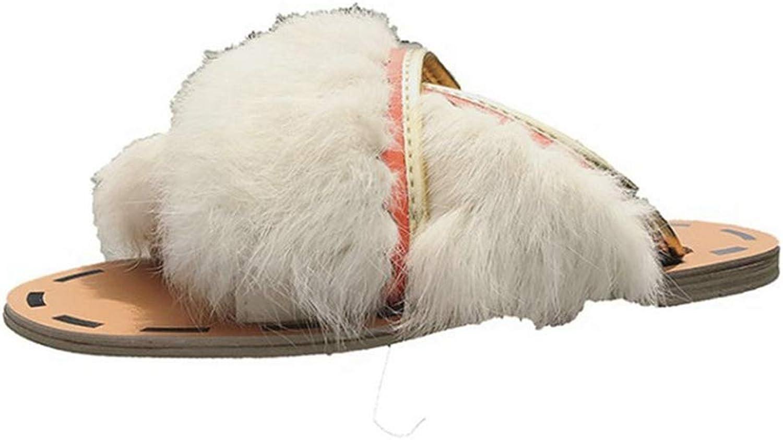ASO-SLING Women Comfort Fur Slippers Fluffy Slides Indoor Outdoor Flat Soles Soft Winter Slide
