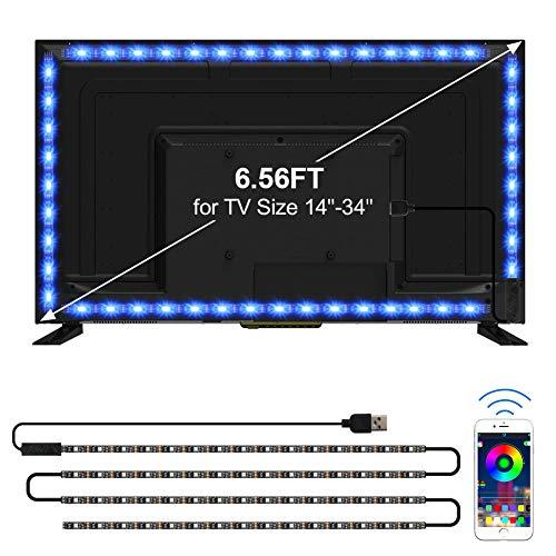 TV LED Backlights, CT CAPETRONIX 6.56ft/2M USB RGB Strip Lights Kit, 5050 LEDs Lighting Music Sync...