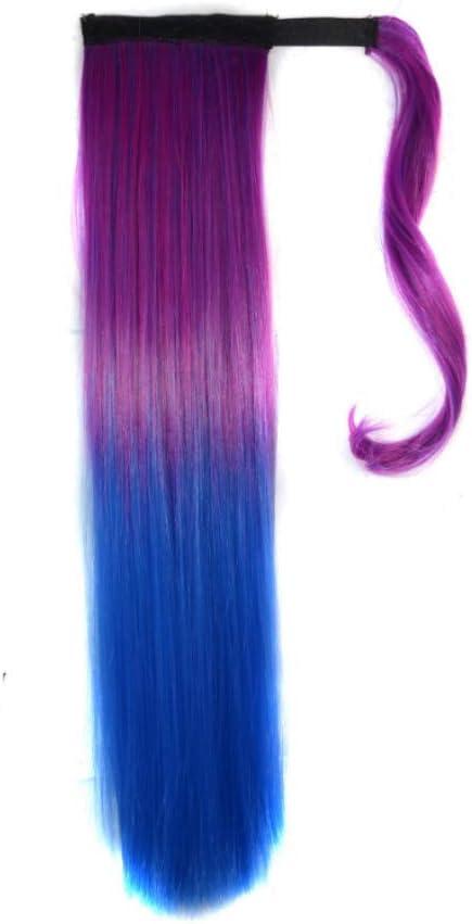 Gradiente de color Velcro cola de caballo recta peluca ...