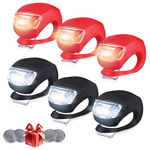 shenzhenroy 6 Stück Fahrradbeleuchtung vorne und hinten, LED Clip on Silikon Fahrradbeleuchtung mit wasserdichtem Silikongehäuse, Mehrzweckscheinwerfer Wasserdicht Scheinwerfer