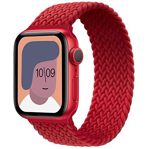 AUNDYYU Intrecciato Solo Loop Cinturino Compatibile con Apple Watch 38mm 40mm 42mm 44mm per iWatch Series 6 SE 5 4 3 2 1, Sport Cinturino Elastico Braided Estensibile Tessuto, 42mm/44mm #08 Rouge