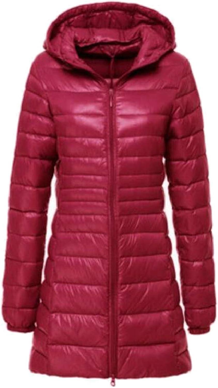 Women Lightweight Zip Up Hooded Packable Puffer Long Down Jackets