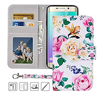 S6 Wallet Case Galaxy S6 Case MagicSky Premium PU Leather Flip Folio Case Cover with Wrist Strap,Card Slots Cash Pocket Kickstand for Samsung Galaxy S6  Flower
