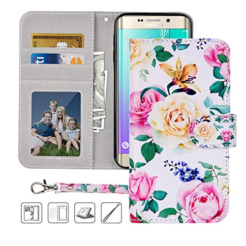 S6 Wallet Case, Galaxy S6 Case, MagicSky Premium PU Leather Flip Folio Case Cover with Wrist Strap,Card Slots, Cash Pocket, Kickstand for Samsung Galaxy S6 (Flower)