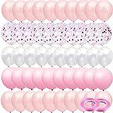 JUZNOY 72 Stück Luftballons Grün Blua Rosa Weiß Ballons mit Konfetti für Babyparty Junge Kinder Geburtstag Party Deko (rosa)