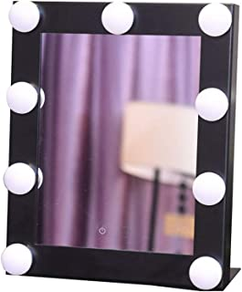 WYXIAN Square Vanity Mirror with 9 LED Bulb Lighting Kits As Makeup Mirror Shaving Mirror for Dresser Hollywood Style (Color : Black)