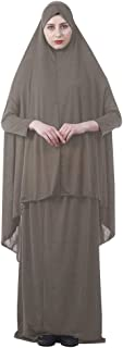 EDITHA Women's Muslim Prayer Dress Hijab Scarf Islamic Abaya Dress Two-Piece Full Length Dress
