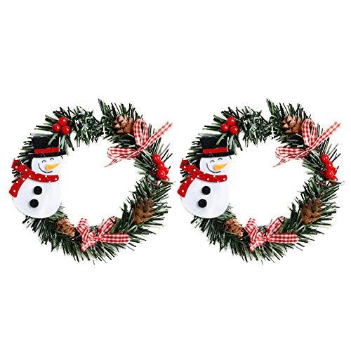 MoGist 2 unidades de corona de Navidad con motivos navideños, decoración de boda, guirnalda para puerta, corona de Adviento para puertas y ventanas, árbol de Navidad (muñeco de nieve)