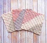Crochet Dish Cloths, Set of Three - Handmade Kitchen Linens - Eco Friendly Cotton Blend Dish Cloths