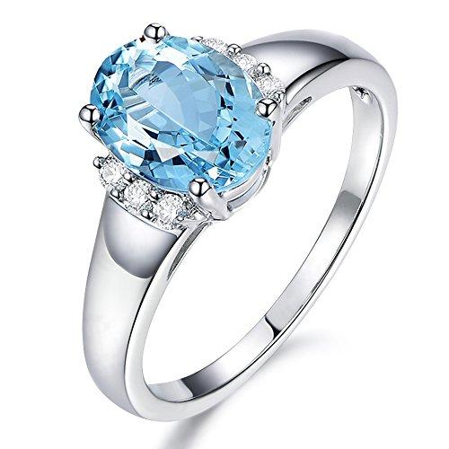 Naturales Azul Aguamarina Diamante Sólido 14K Oro blanco Prong Diamante Boda Compromiso Promesa Anillo Conjuntos para Mujer