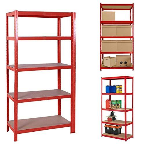 Heavy Duty Garage Shelving Unit- H150cm x W70cm x D30cm Red Storage Shelves x1 Unit, Metal Racks 5 Tier MDF Shelves, Sturdy Steel Frame Boltless Assembly for Kitchen, Bathroom, Office, Garage Storage