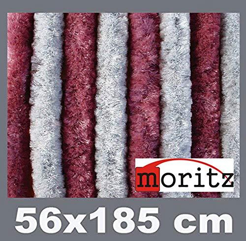 Moritz Flauschvorhang aus Chenille 56 x 185 cm Bordeaux Silber Türvorhang als Fliegenschutz Insektenschutz für Camping Wohnwagen