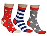 vitsocks Damen Socken mit Muster bunt (3x Set) aus BAUMWOLLE, Streifen Sterne Punkte, blau rot weiß grau, JOY, 39-42