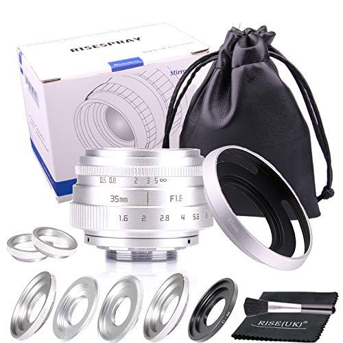 35 mm F1.6 APS-C Fernseherobjektiv/CCTV-Objektiv für 16 mm C Mount Kamera, Silberfarben