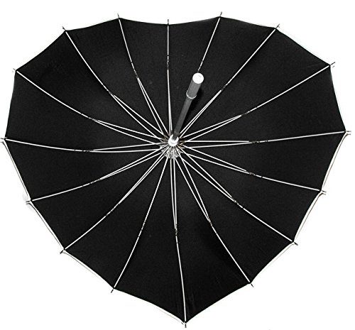 JapanAttitude Ombrelle parapluie en forme de coeur noir