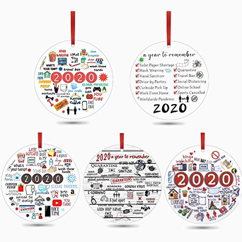 N-brand 2020 Ornament,2020 Christmas Ornaments, 5PCS 3'' Christmas Ornament Quarantine Christmas Tree Ornaments Hanging Accessoriesfor A Year Need to Remember