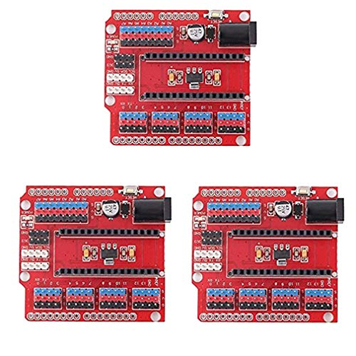HiLetgo 3pcs Nano V3.0 IO Shield UNO R3 IO Shield I/O Expansion Board Added DC Power Meet Big Current Needed for IO Shield for Arduino UNO NANO V3.0