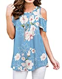 PrinStory Women's Short Sleeve Casual Cold Shoulder Tunic Tops Loose Blouse Shirts Floral Print Light Blue-US X-Large
