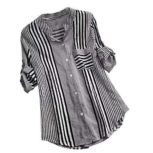 Damen Sommer T-Shirt Freizeit Mit Damenpulli Umlegekragen V-Ausschnitt Sweet Sexy Striped Print Stretch Weste Lange Hülsen Schnüre Schlankes Tee Polyester Hemden Bluse (EU:38, Schwarz)