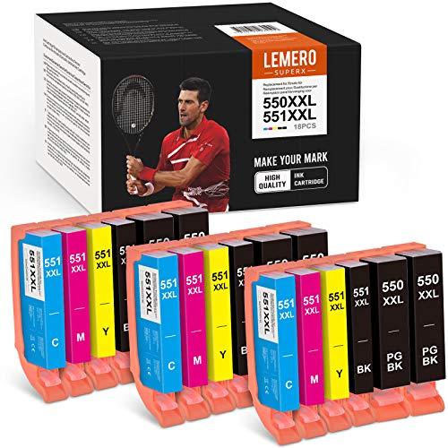 18 cartucce Lexero Superx 550XXL 551 XXL ricambio per Canon PGI-550 CLI-551 compatibile con Canon PIXMA IP7250 IP8750 MX925 MG5650 IX6850 MX725 MG5550 MG6350 MG6450 MX9 20 (9 B / 13C/3M/3Y).