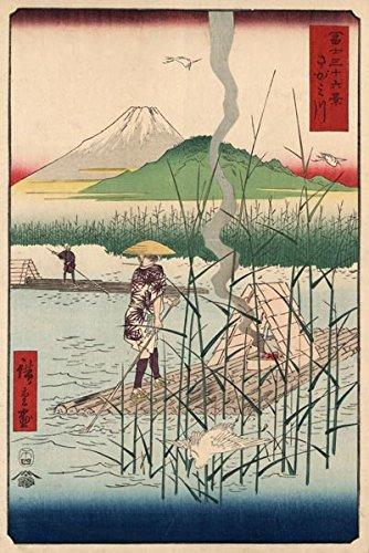JP06 Vintage 1858 Japanese Fine Art Sagamigawa Fuji Poster Re-Print - A4...