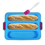 KeepingcooX Padella per Baguette in Silicone Antiaderente per Pane Francese, 3 pagnotte Ondulate per Ogni pagnotta 28x6 cm Stampo per Torta Toast Bakers Modellazione 3 grondaie Forno tostapane