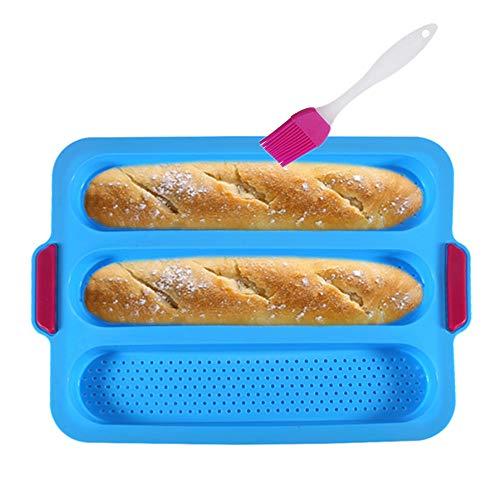 KeepingcooX® Baguette-Backblech(für 3 Baguettes), 34x24x3 cm - Baguette-Blech, Antihaft Silikon Baguetteform | Brot Crisping Tray, Laib Backform, perfekt backt French-Bread, Breadstick und Brötchen
