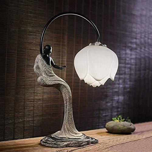 Lámpara de escritorio Lámpara de mesa Zen Buda Estatua Lotus Lámpara de mesa Reclassica Ya Sala de Aprendizaje Dormitorio Bedide Hotel Club Resin Lámpara de decoración de resina 38 * 25 * 55 cm (Color