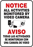 Accuform SBMASE813VP Plastic Spanish Bilingual Sign, Legend 'NOTICE ALL ACTIVITIES MONITORED BY VIDEO CAMERA/AVISO TODAS LAS ACTIVIDADES SE MONITOREAN CON UNA CAMARA DE VIDEO' with Graphic, 10' Length x 7' Width x 0.055' Thickness, Red/Black on White