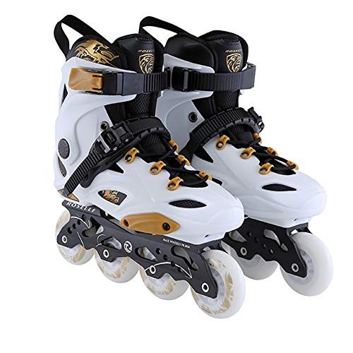 FINLR Inline Skates Klassische Bequeme Roller Skates Verschiedene Größen mit sicherer Verschluss-Straps-Blitzen leuchten 8 Räder, Unisex Erwachsene (Color : White, Shoe Size : 43)