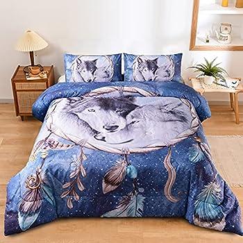Holawakaka Queen Bedding Sets Bohemian Dream Catcher Wolf Print Comforter Set Boho Quilt Bedspread  Dreamcatcher Wolf