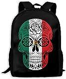 TTmom Mochilas Tipo Casual,Bolsa de Viaje Mexican Flag Sugar Skull Unisex Backpack Shoulder Bag School Backpack Travel Bags Laptop Backpack