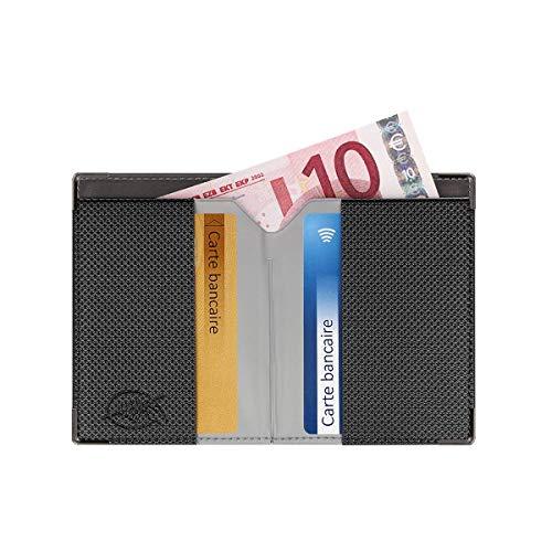 Portefeuille extraplat blindé (Anthracite) - Fabrication française - Protection des données bancaires