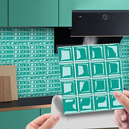 HYISHION 20/30/50/100Piezas Pegatinas para Azulejos de Pared, Rectángulo Adhesivos Decorativos Azulejos Pegatinas, Calcomanías de Vinilo Mármol 3D Mosaico para Baño Cocina,Azul,100pcs 10 * 10cm